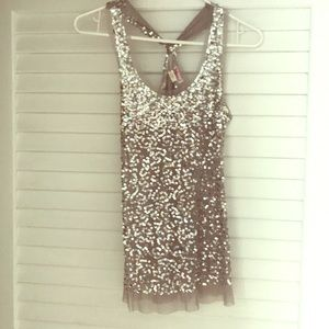 Silver sequined razor back tank